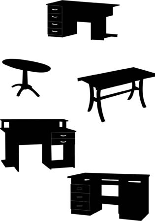 tables collection silhouettes Stock Vector - 8023699