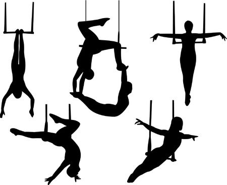 akrobatik: Trapez-silhouette Illustration