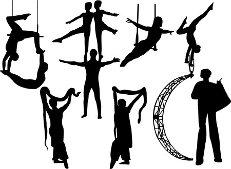 trapeze: collection of circus artists silhouette  Illustration