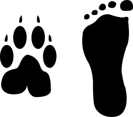 huellas de perro: silueta de huellas de perro y el hombre  Vectores