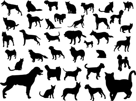 dogs and cats silhouette collection Vector