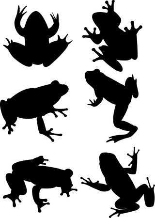 hopping: frogs collection silhouette