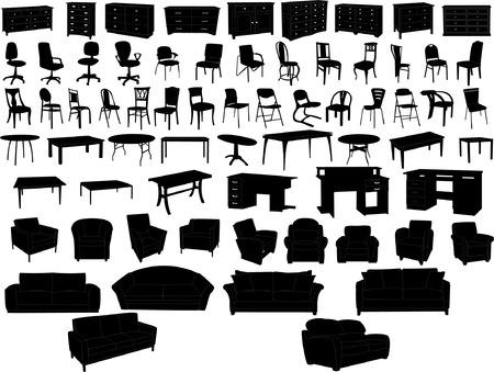 colección de mobiliario  Ilustración de vector