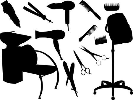 peigne et ciseaux: silhouette de mat�riel de cheveux