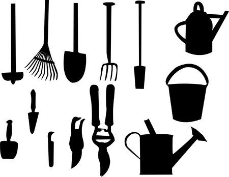 haus garten: Gartenwerkzeuge silhouette