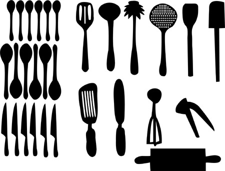 kitchen set silhouette  Stock Vector - 8094096