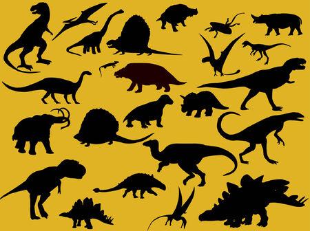 mammoth: collection of dinosaur silhouette  Illustration
