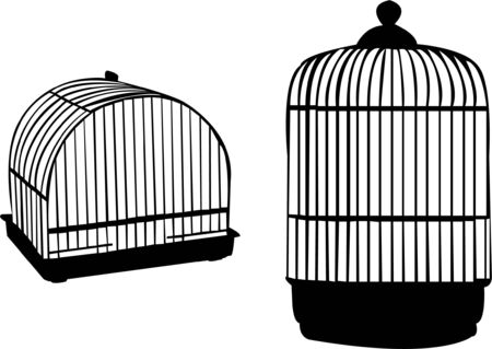 confinement: birdcage silhouette  Illustration