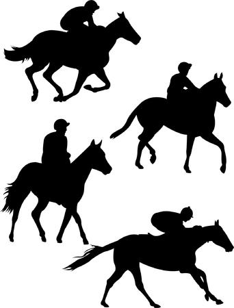collection of jockeys silhouette Ilustração Vetorial