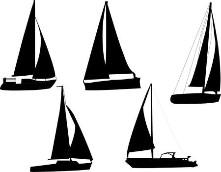 yacht race: silueta de barcos de vela  Vectores