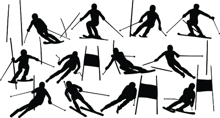 slalom: alpine skiing collection Illustration