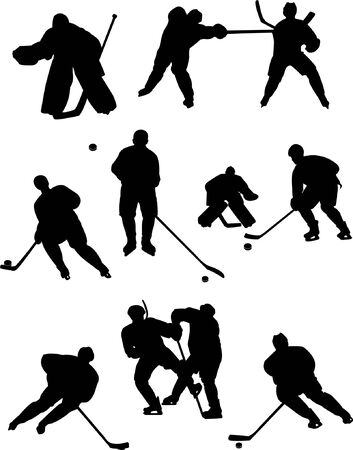 collection of hockey players silhouettes  Vector
