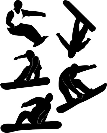 collection of snowboard silhouettes  Vector