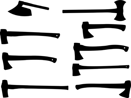 collection of wood axe silhouette  Vector