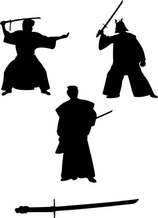 samurai:    samurai silhouettes   Illustration