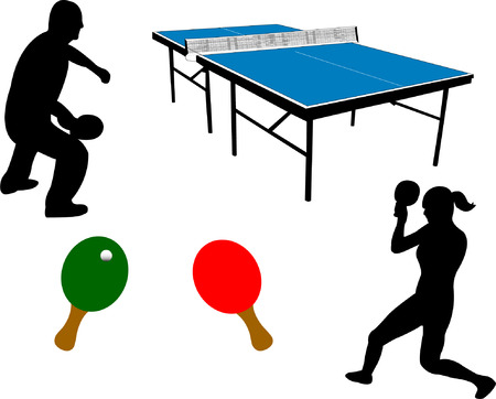 table tennis equipment and players silhouette