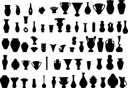 big collection of vase silhouette  Vector