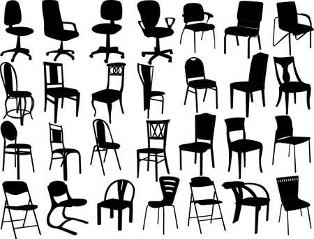 midcentury: big collection of chairs silhouette