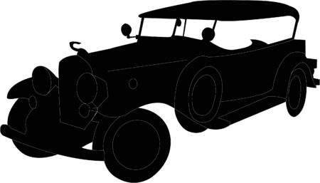brass rod: old car silhouette   Illustration
