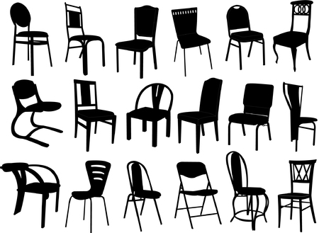 big collection of chairs silhouettes Stock Vector - 8293013