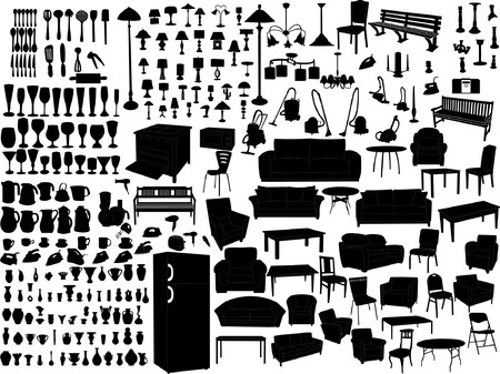 household items silhouette  Vector