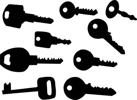 black and white lock: keys silhouette