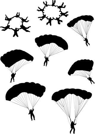 skydiving: illustration of sky divers silhouettes