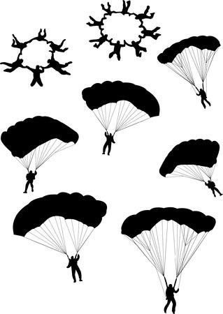 spadochron: Ilustracja silhouettes divers nieba