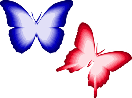 illustration of red and blue butterfly Vector