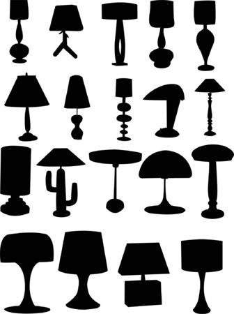 collection of lamps silhouettes Vector