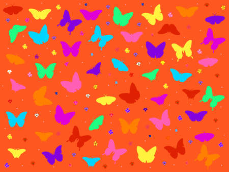 orange background with butterfly - vector Vector