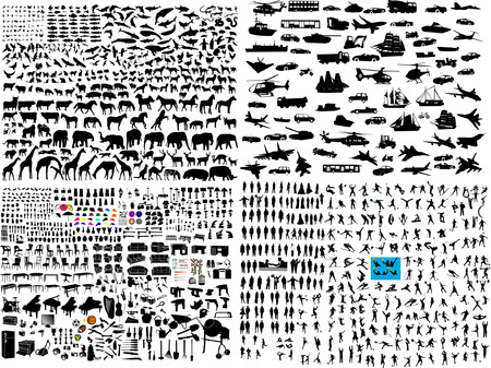 hundreds mix silhouette  Vector