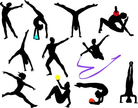 rhythmic gymnastic: colecci�n de silueta de Gimnasia - vectoriales