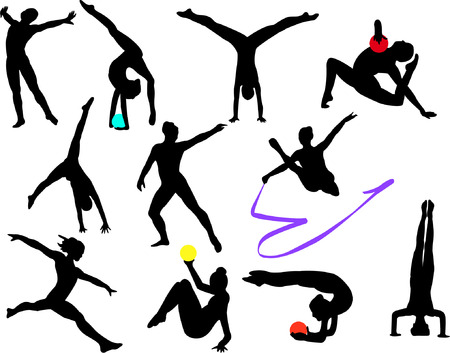 Гимнастика: collection of gymnastics silhouette - vector