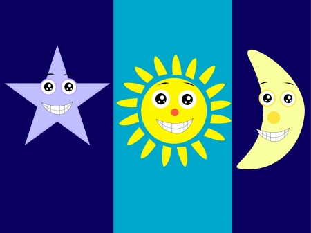 cartoon characters of moon, star and sun Vector
