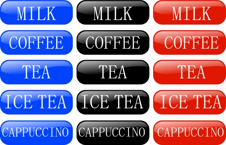 expresso: collection of buttons for drink  Illustration
