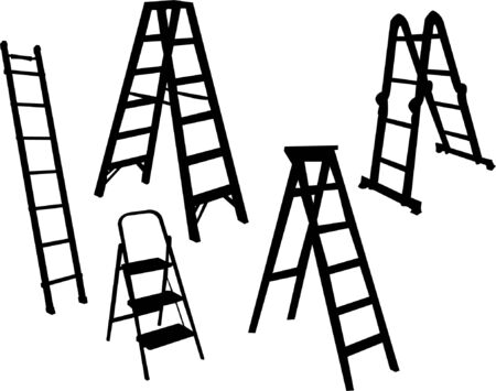 step up: ladders collection - vector Illustration