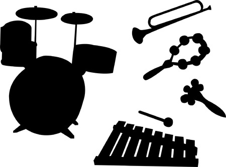 music instruments for kids silhouette Vector