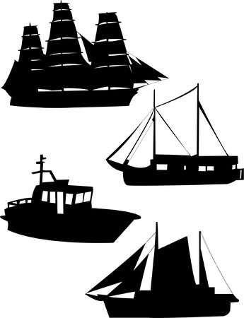 warlike: sailing ship silhouettes Illustration