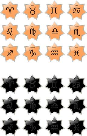 zodiac button collection Vector