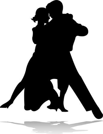 bailes de salsa: silueta de danza