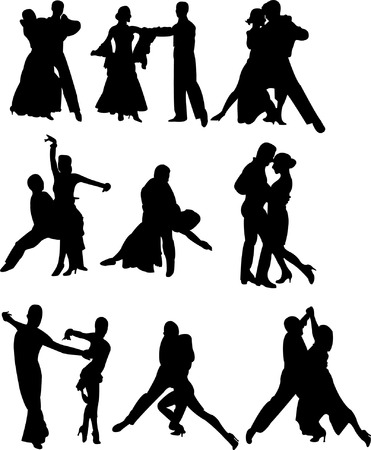 collection of dancing people silhouettes  Illustration