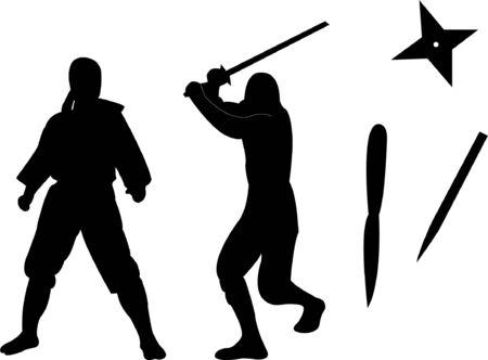 ninja with equipments silhouette Stock Vector - 8738213