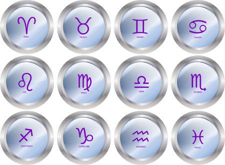 zodiacal sign: zodiac button collection