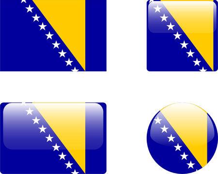 herzegovina: bosnia &amp, herzegovina flag &amp, buttons collection  Illustration