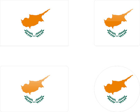 cyprus: cyprus flag &amp, buttons collection  Illustration
