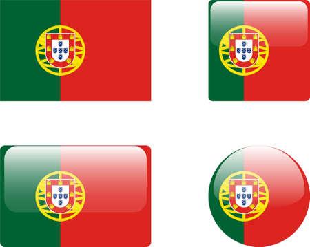 drapeau portugal: Drapeau du Portugal & amp, collection de boutons  Illustration