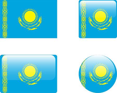 kazakhstan: kazakhstan flag &amp, buttons collection  Illustration