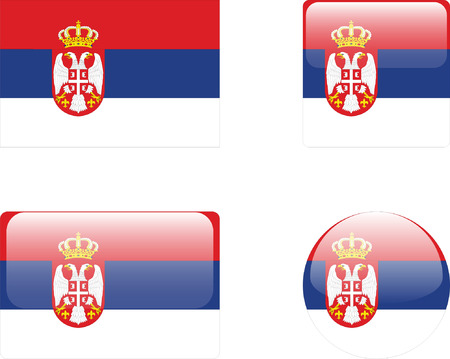 serbien: Serbien Flag & Amp, Buttons-Auflistung  Illustration