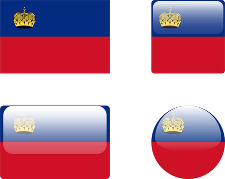 liechtenstein: liechtenstein flag &amp, buttons collection  Illustration